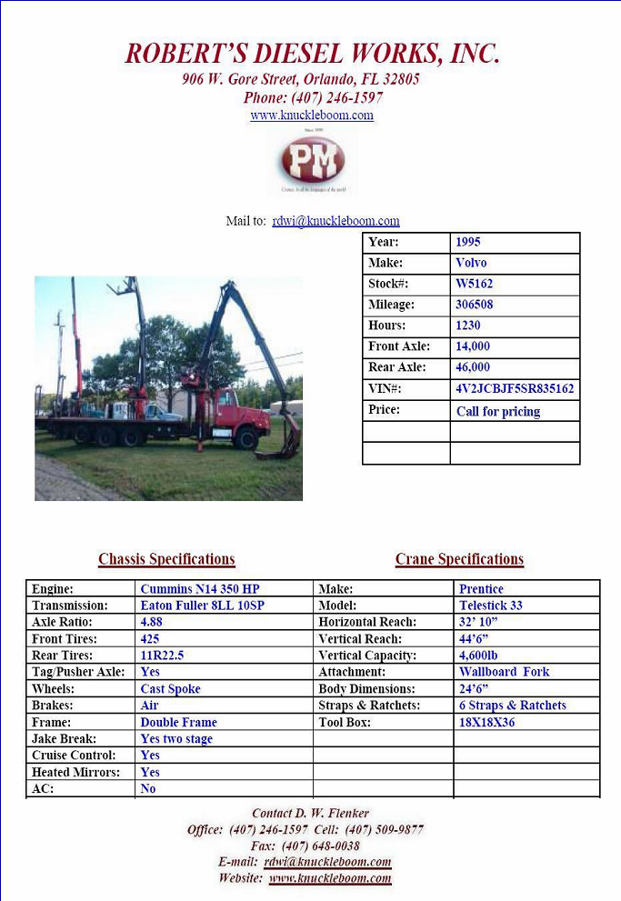 Prentice TS33 Drywall, Wallboard, Sheetrock Crane Truck For Sale.